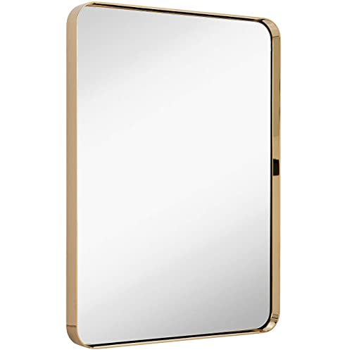Buy Hamilton Hills Contemporary Polished Metal Wall Mirror Glass Panel Polished Gold Framed Rounded Corner Deep Set Design Mirrored Rectangle Hangs Horizontal Or Vertical 22 X 30 Online In South