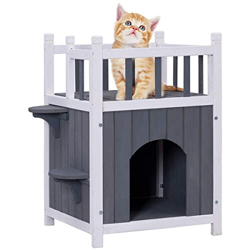 Buy Petsjoy Pet Cat House Wooden Cat Room Shelter With 2 Jumping Stairs Kitty Condo Room With Balcony For Indoor And Outdoor Use Feral Insulated Pet Houses For Cats 2 Story Online