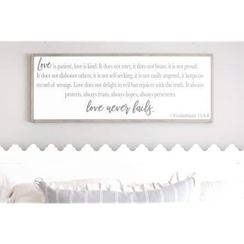 Buy Framed Wood Sign Rustic Wooden Sign Master Bedroom Wall Decor 1 Corinthians 13 Wood Sign Love Is Patient Love Is Kind Bedroom Wall Decor Above Bed Decor Bedroom Signs 6 X