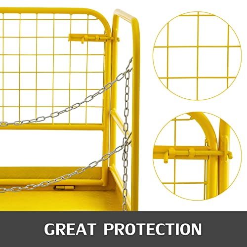 VEVOR Forklift Safety Cage Aerial Rails 36x36 Forklift Safety Cage Work Platform Heavy Duty Steel Construction Fold Down Lift Basket 1102 Lbs Capacity 36x36 Inch