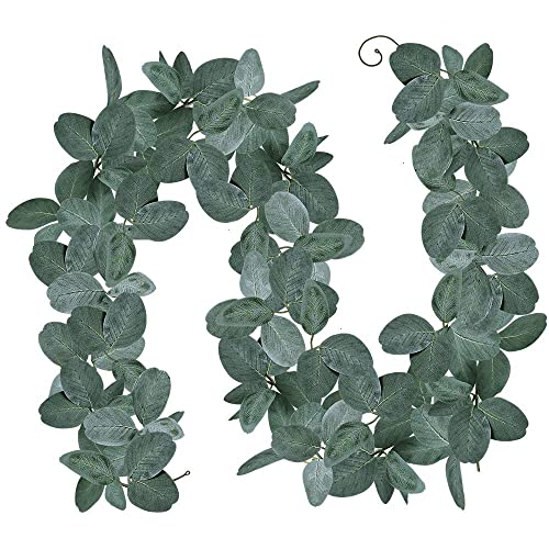 Buy Winlyn 5 9 Long Eucalyptus Garland Artificial Wedding Greenery Garland Eucalyptus Leaves Green Table Runner Garland Fake Hanging Vine In Grey Green For Farmhouse Jungle Party Backdrop Wall Décoration Online In South