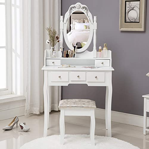 HONBAY Makeup Vanity Table Set and Cushioned Stool Oval Mirror and Surprise Gift Makeup Organizer 5 Drawers Dressing Table White