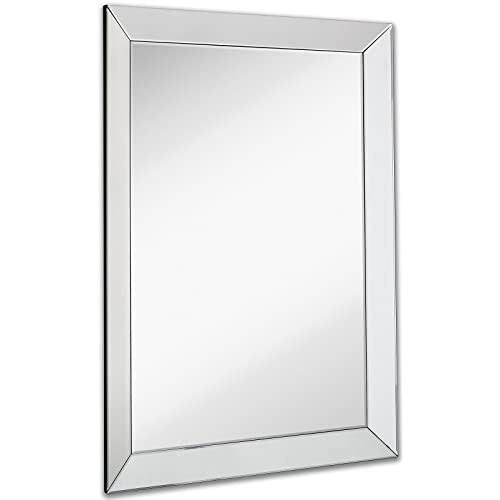 Buy Large Framed Wall Mirror With 3 Inch Angled Beveled Mirror Frame Premium Silver Backed Glass Panel Vanity Bedroom Or Bathroom Mirrored Rectangle Hangs Horizontal Or Vertical 30 X 40