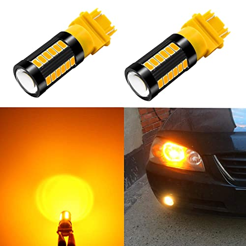 Alla Lighting 2800lm 3156 3157 LED Lights Bulbs Xtreme Super Bright 12V 5730 33-SMD Dual Turn Signal Blinker Lights Replacement T25 3056 3157NAK 4157 3457K 3757 Amber Yellow