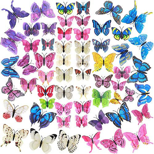 60 Pcs Colorful 3d Butterfly Wall Art Assorted Removable Butterfly Party Decorations Mural Room Decor Removable Butterflies Wall Decal With Adhesive Stickers For Girl Birthday Party Room Cupcake Buy Products