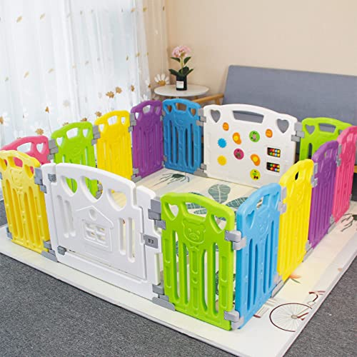 Hadwin Baby Playpen Foldable Safety Play Yard with Activity Game Panel Indoor Outdoor Colorful Castle Playpen for Baby Toddlers Portable Kids Activity Centre with Lock /& Toy Telescope 14 Panel