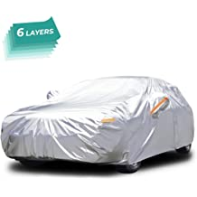 Universal Full Car Covers with Zipper Door Techfun Car Cover All Weather Car Protection Waterproof//Windproof//Scratch Resistant//Reflective Strips for Sedan Wagon Use 181-192