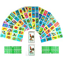 Tio Chentes Mexican Bingo Loteria Family Board Game Set of 20 Jumbo Boards and Deck of 54 Cards