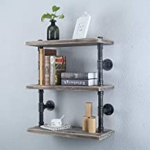 Buy Industrial Pipe Shelf Wall Mounted 3 Tier Rustic Metal Floating Shelves Steampunk Real Wood Book Shelves Wall Shelving Unit Bookshelf Hanging Wall Shelves Farmhouse Kitchen Bar Shelving 24in Online In South Korea B07qnjzx89